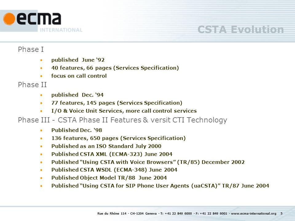 CSTA Standards Documents Document TitleEcma Publication ISO/IEC Publication ETSI Publication Services for CSTA Phase IIIECMA-269ISO/IEC 18051ETSI TS 102 173 ASN.1 Protocol for CSTA Phase IIIECMA-285ISO/IEC 18052 XML Protocol for CSTA Phase IIIECMA-323ISO/IEC 18056ETSI TS 102 174 Web Services Description Language (WSDL) for CSTA Phase III ECMA-348 Definitions & Terms for CSTA Ph.
