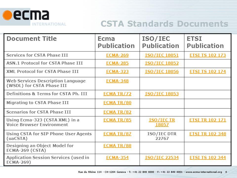 CSTA Features Rue du Rhône 114 - CH-1204 Geneva - T: +41 22 849 6000 - F: +41 22 849 6001 - www.ecma-international.org 7
