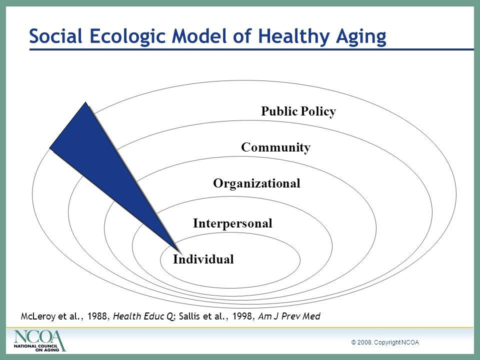 © 2008. Copyright NCOA Individual Interpersonal Organizational Community Public Policy McLeroy et al., 1988, Health Educ Q; Sallis et al., 1998, Am J