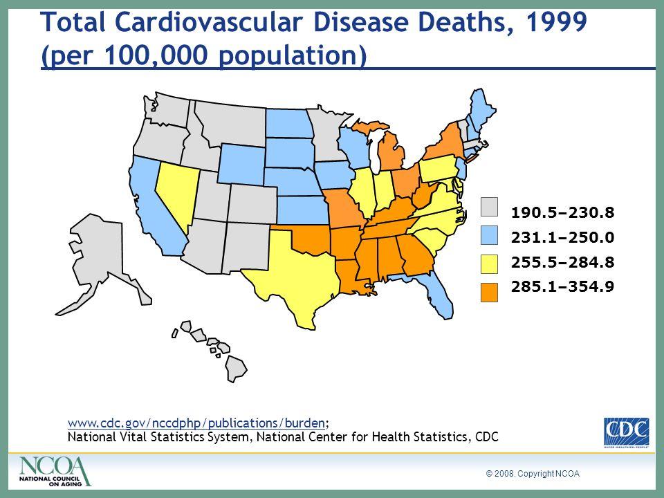© 2008. Copyright NCOA www.cdc.gov/nccdphp/publications/burden; National Vital Statistics System, National Center for Health Statistics, CDC 190.5–230