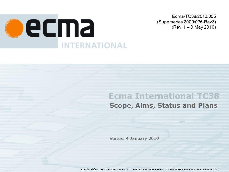Rue du Rhône 114 - CH-1204 Geneva - T: +41 22 849 6000 - F: +41 22 849 6001 - www.ecma-international.org 22 Relation of Standards IEC TC108 WG Environment ISO/IEC JTC 1 IEC TC100 IEC 62623 IEC 62075 IEC xxxxx ISO/IEC xxxxx Input into sector specific EE standards ErP + other ICT & CE products Ecma-383 Ecma-341 Ecma-370 proxZzzy