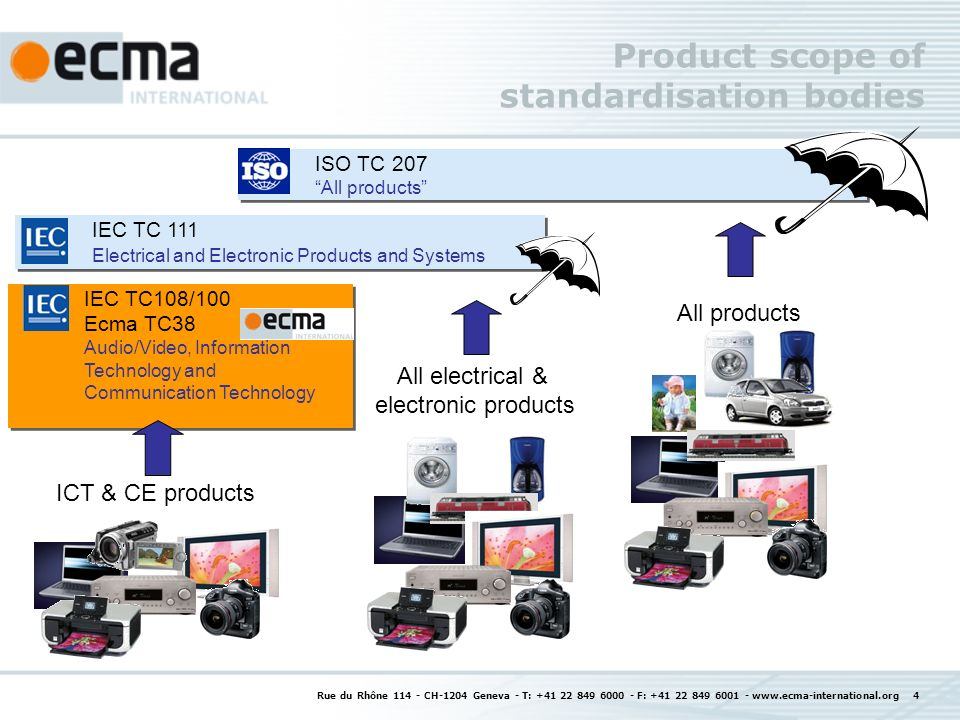 Rue du Rhône 114 - CH-1204 Geneva - T: +41 22 849 6000 - F: +41 22 849 6001 - www.ecma-international.org 4 Product scope of standardisation bodies IEC TC108/100 Ecma TC38 Audio/Video, Information Technology and Communication Technology IEC TC108/100 Ecma TC38 Audio/Video, Information Technology and Communication Technology ISO TC 207 All products ISO TC 207 All products IEC TC 111 Electrical and Electronic Products and Systems IEC TC 111 Electrical and Electronic Products and Systems All products All electrical & electronic products ICT & CE products