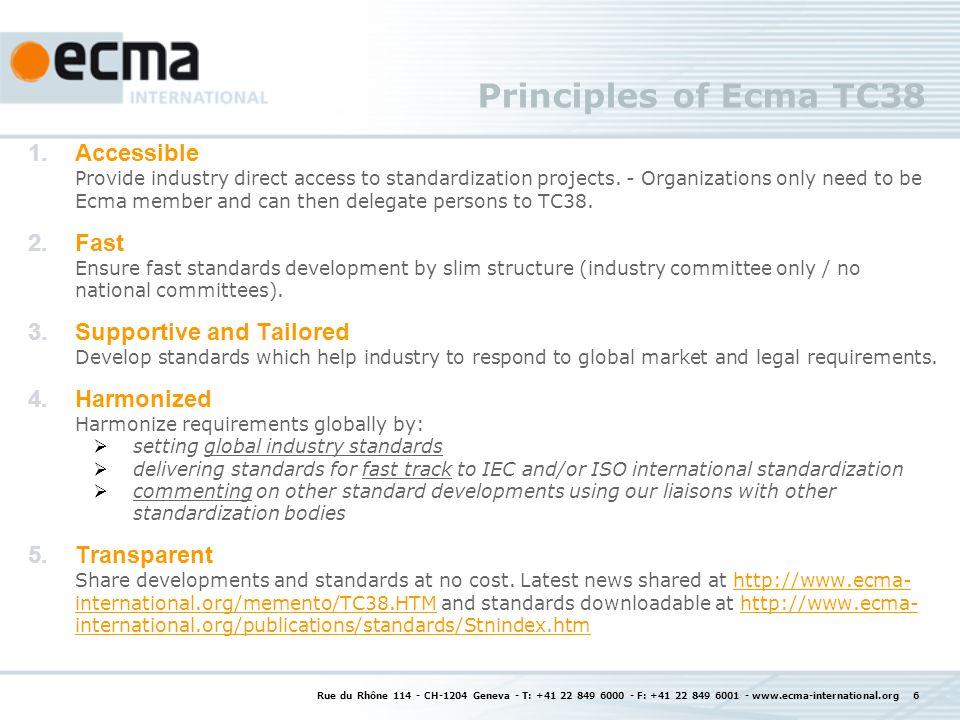 Rue du Rhône 114 - CH-1204 Geneva - T: +41 22 849 6000 - F: +41 22 849 6001 - www.ecma-international.org 7 Ecma TC38 Standards Status and plans ECMA-341 (Environmental Conscious Design) 3rd edition, June 2008 base for and equivalent to IEC 62075, 4th edition in 2010ECMA-341Environmental Conscious Design ECMA-328 (Chemical Emissions) 4 th edition, December 2009, 5 th edition in 2010 3 rd edition fast tracked to ISO/IEC as ISO/IEC 28360ECMA-328Chemical Emissions ECMA-383 (Energy Consumption) 2 nd edition / December 2009, 3 rd edition in 2010ECMA-383Energy Consumption ECMA-393 (proxZzzy for sleeping hosts) 1 st edition / February 2010.