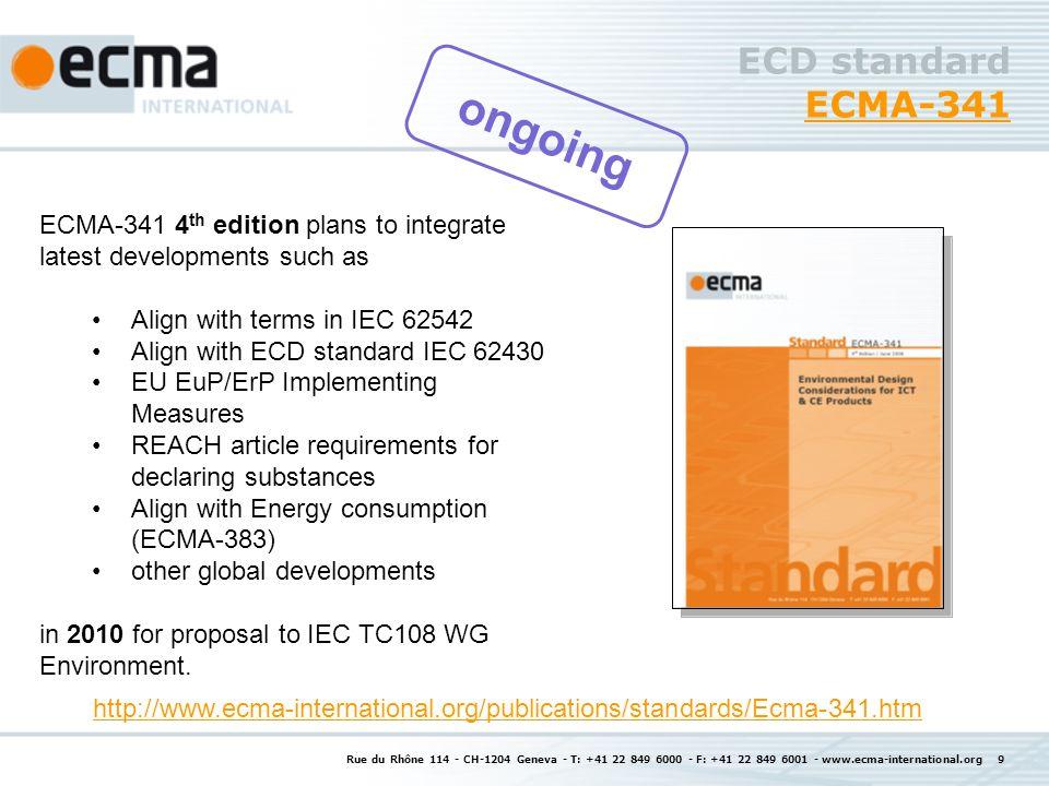 Rue du Rhône 114 - CH-1204 Geneva - T: +41 22 849 6000 - F: +41 22 849 6001 - www.ecma-international.org 20 Further Liaisons of TC38 Current: ISO/IEC JTC 1/SC 28 IEC TC111 IEC TC108 WG Environment IEC TC100 IEEE WG 1680 active