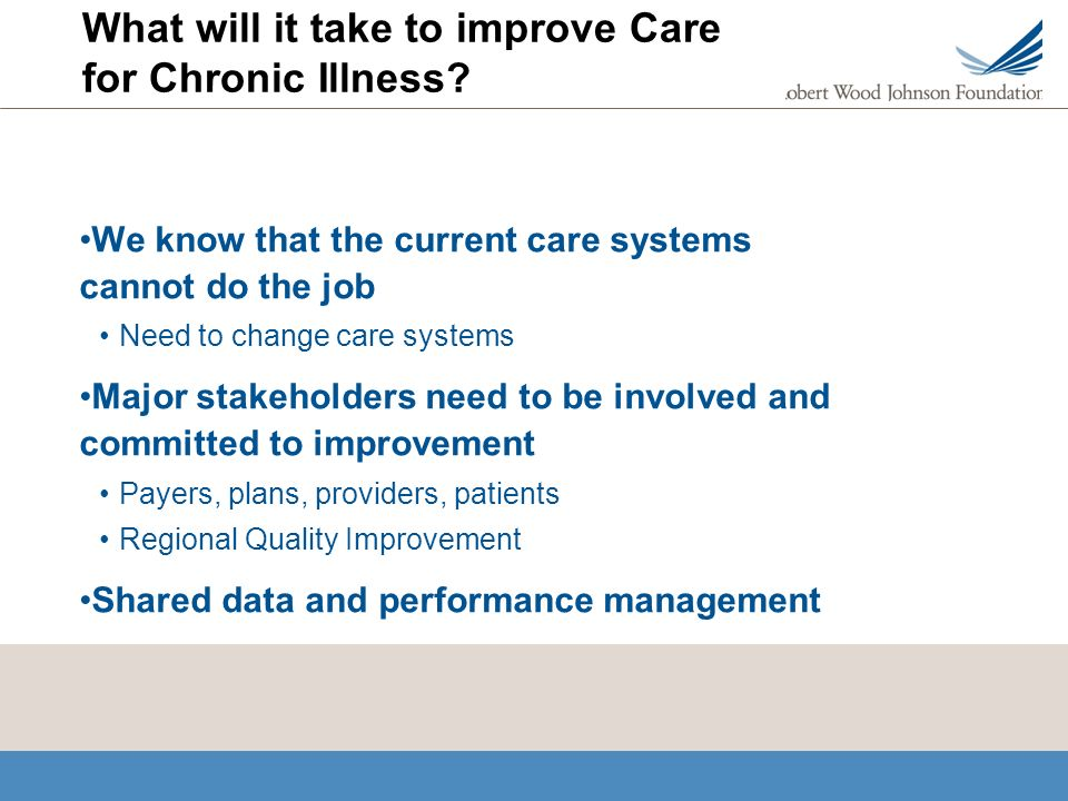 What will it take to improve Care for Chronic Illness.