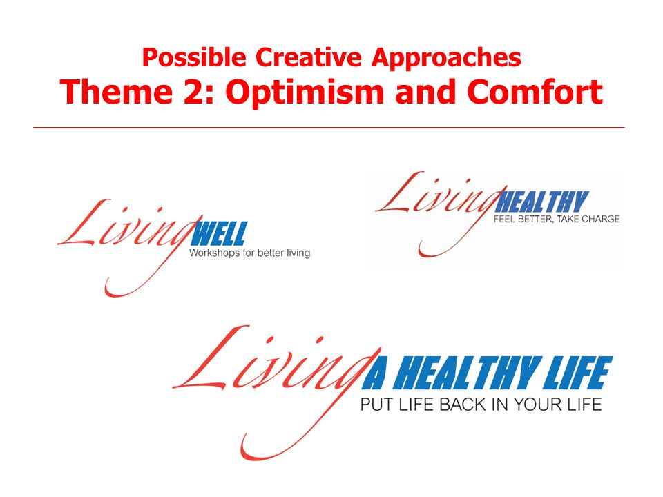 25 Possible Creative Approaches Theme 2: Optimism and Comfort
