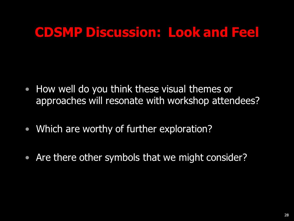 28 CDSMP Discussion: Look and Feel How well do you think these visual themes or approaches will resonate with workshop attendees? Which are worthy of