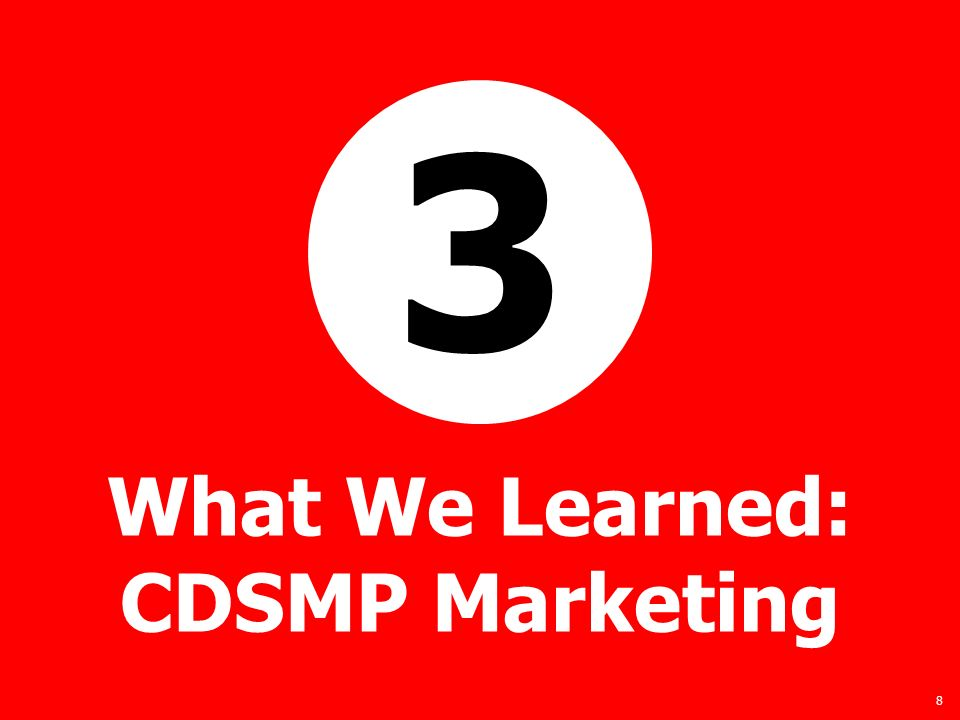 8 What We Learned: CDSMP Marketing 3