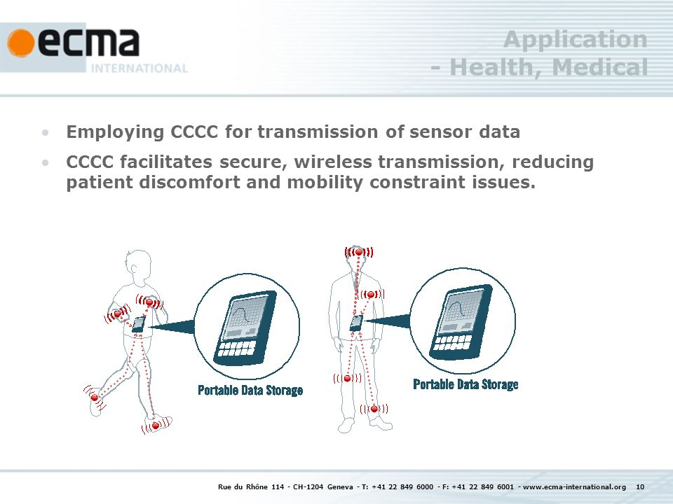Application - Health, Medical Employing CCCC for transmission of sensor data CCCC facilitates secure, wireless transmission, reducing patient discomfo