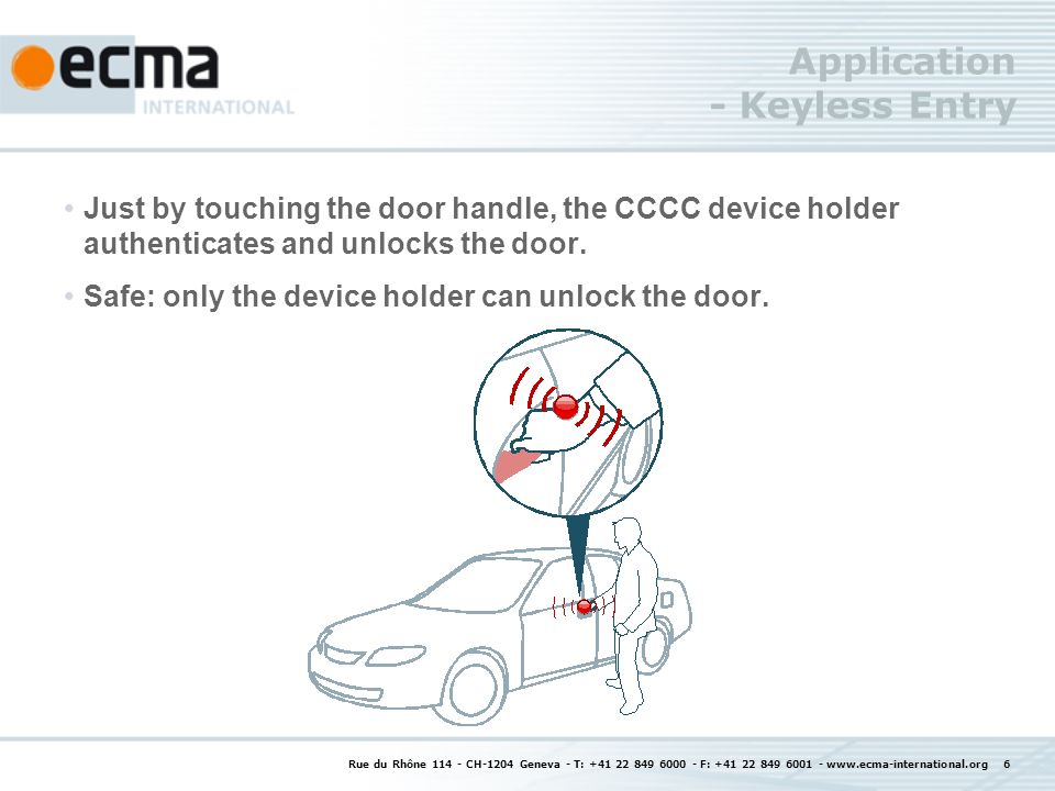 Application - Keyless Entry Just by touching the door handle, the CCCC device holder authenticates and unlocks the door. Safe: only the device holder