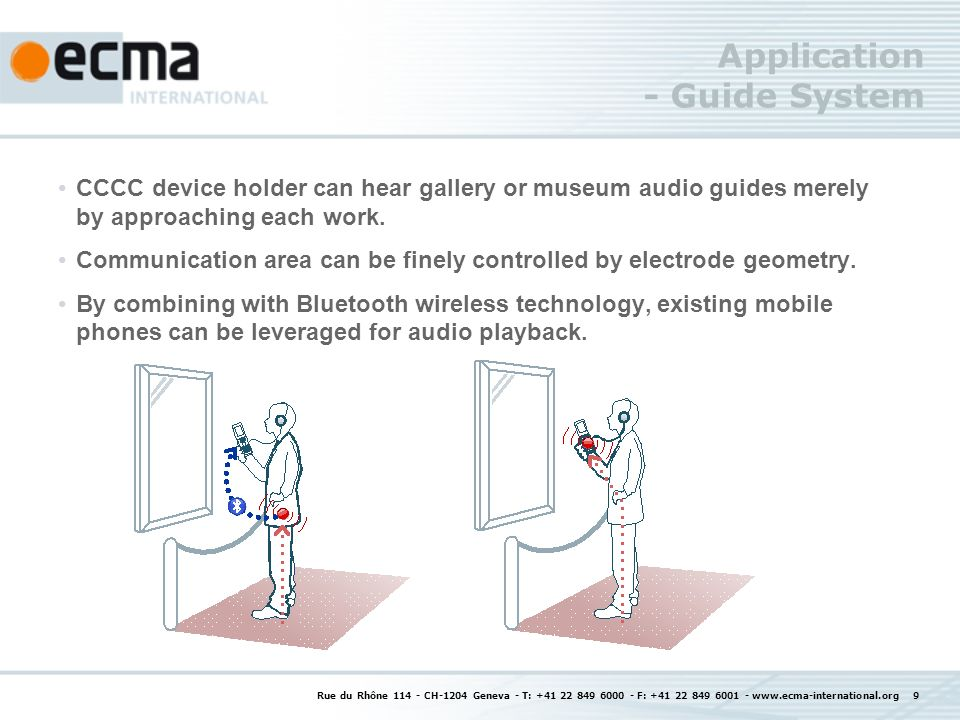 Application - Guide System CCCC device holder can hear gallery or museum audio guides merely by approaching each work.