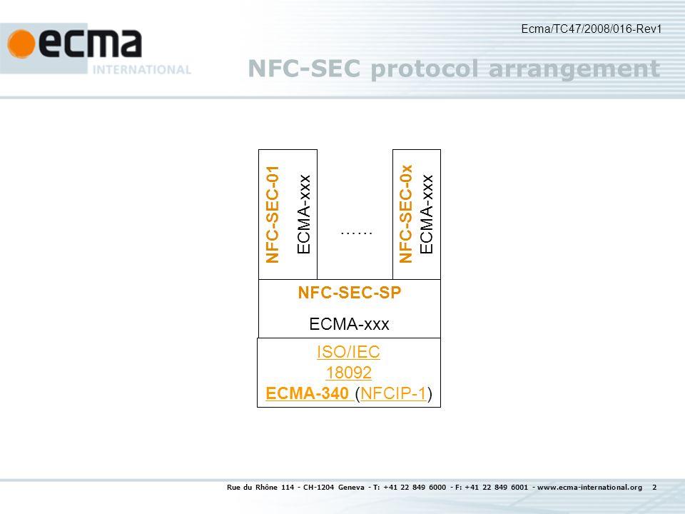 Rue du Rhône 114 - CH-1204 Geneva - T: +41 22 849 6000 - F: +41 22 849 6001 - www.ecma-international.org 3 NFC work items Current work items NFCIP-1 Revision (3 rd edition, June 2009) NFC-SEC: NFC Data Link security to complement higher layer security (2008 December GA) NFC-FEC: RF Front-end configuration (2009 June GA) Memory-Spot (MSIP-1): 2,4 GHz High Data Rate (2009 December GA) Possible future work items: