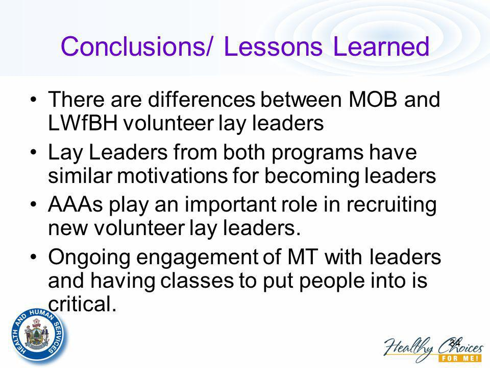 34 Conclusions/ Lessons Learned There are differences between MOB and LWfBH volunteer lay leaders Lay Leaders from both programs have similar motivations for becoming leaders AAAs play an important role in recruiting new volunteer lay leaders.
