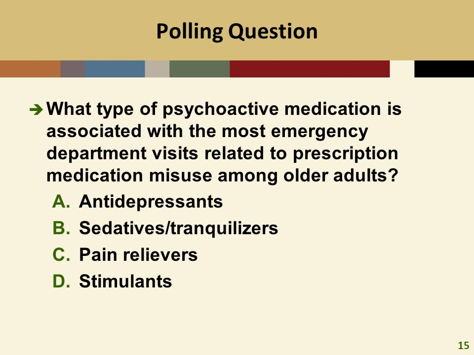 15 Polling Question What type of psychoactive medication is associated with the most emergency department visits related to prescription medication misuse among older adults.
