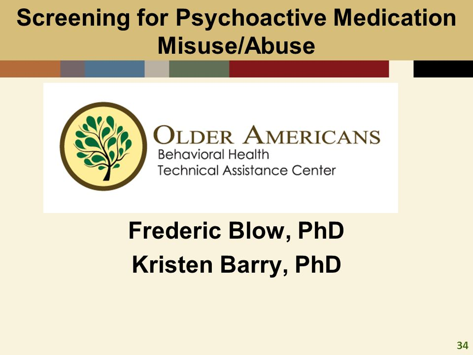 34 Co-Sc Frederic Blow, PhD Kristen Barry, PhD Screening for Psychoactive Medication Misuse/Abuse