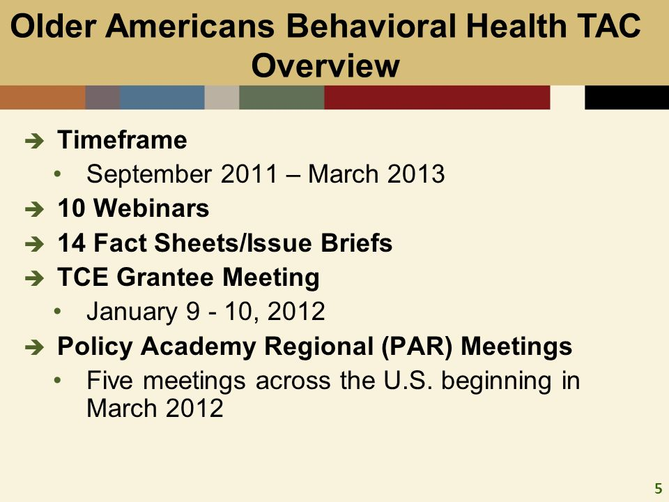 5 Timeframe September 2011 – March 2013 10 Webinars 14 Fact Sheets/Issue Briefs TCE Grantee Meeting January 9 - 10, 2012 Policy Academy Regional (PAR) Meetings Five meetings across the U.S.