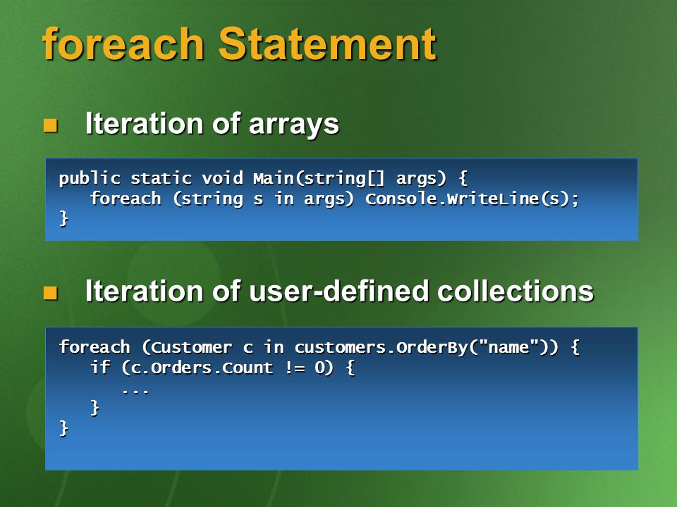 foreach Statement Iteration of arrays Iteration of arrays Iteration of user-defined collections Iteration of user-defined collections foreach (Custome