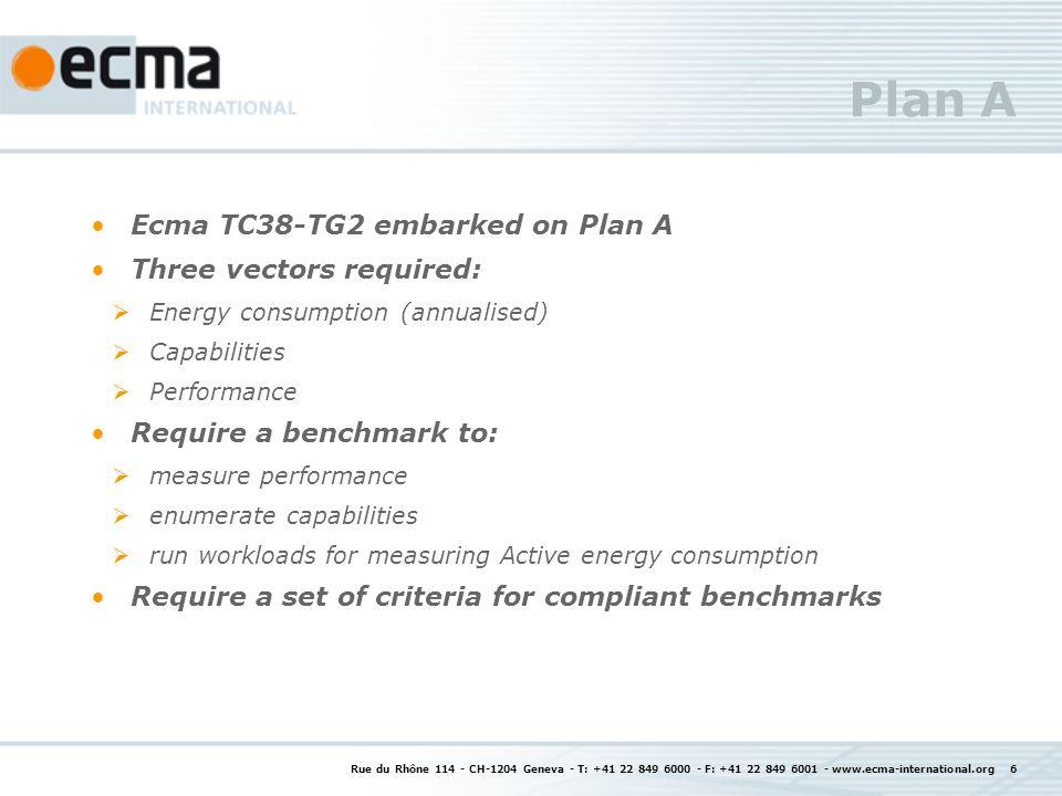Rue du Rhône 114 - CH-1204 Geneva - T: +41 22 849 6000 - F: +41 22 849 6001 - www.ecma-international.org 7 Rational for the 3 vectors in Plan A