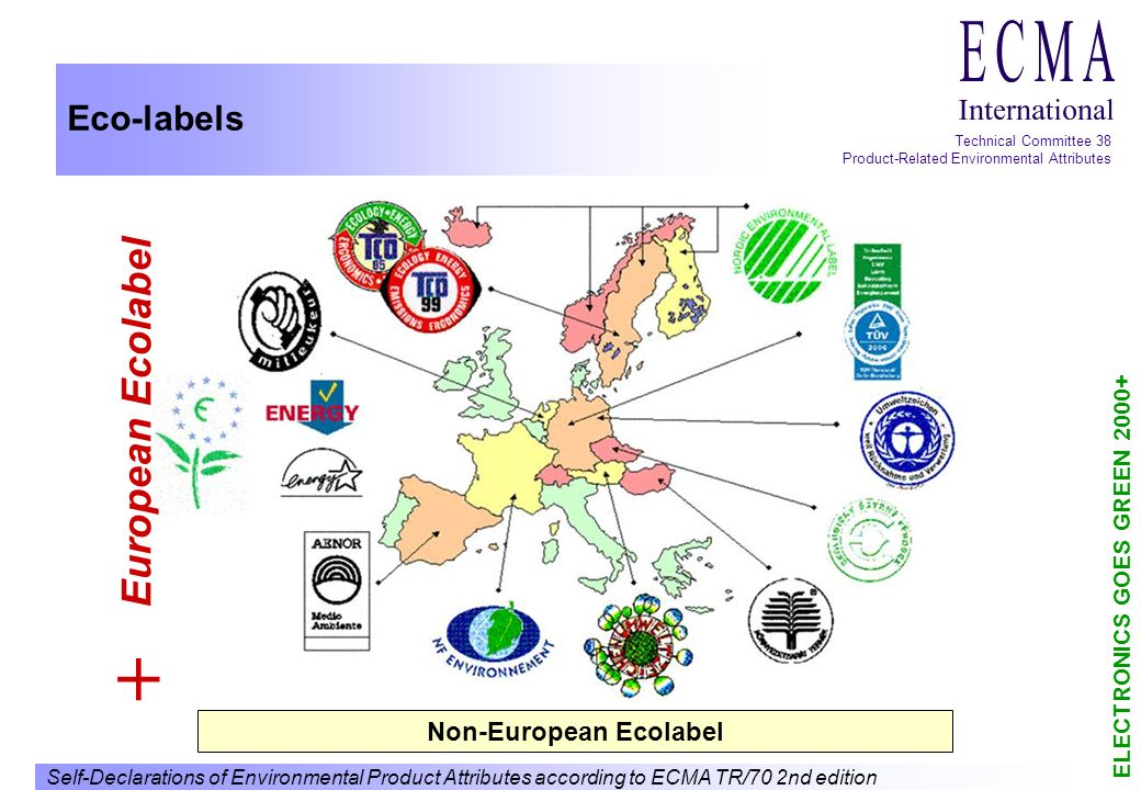 Self-Declarations of Environmental Product Attributes according to ECMA TR/70 2nd edition ELECTRONICS GOES GREEN 2000+ Technical Committee 38 Product-Related Environmental Attributes Eco-labels European Ecolabel + Non-European Ecolabel