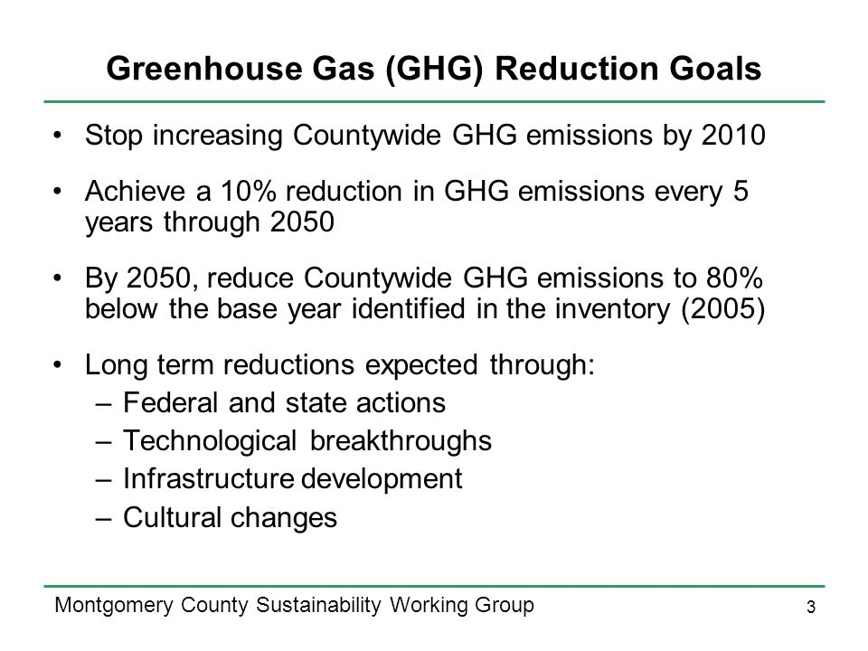 3 Montgomery County Sustainability Working Group Greenhouse Gas (GHG) Reduction Goals Stop increasing Countywide GHG emissions by 2010 Achieve a 10% r