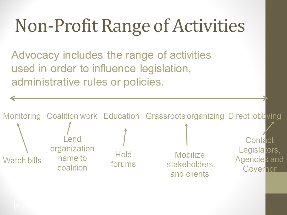 Non-Profit Range of Activities 12 Advocacy includes the range of activities used in order to influence legislation, administrative rules or policies.