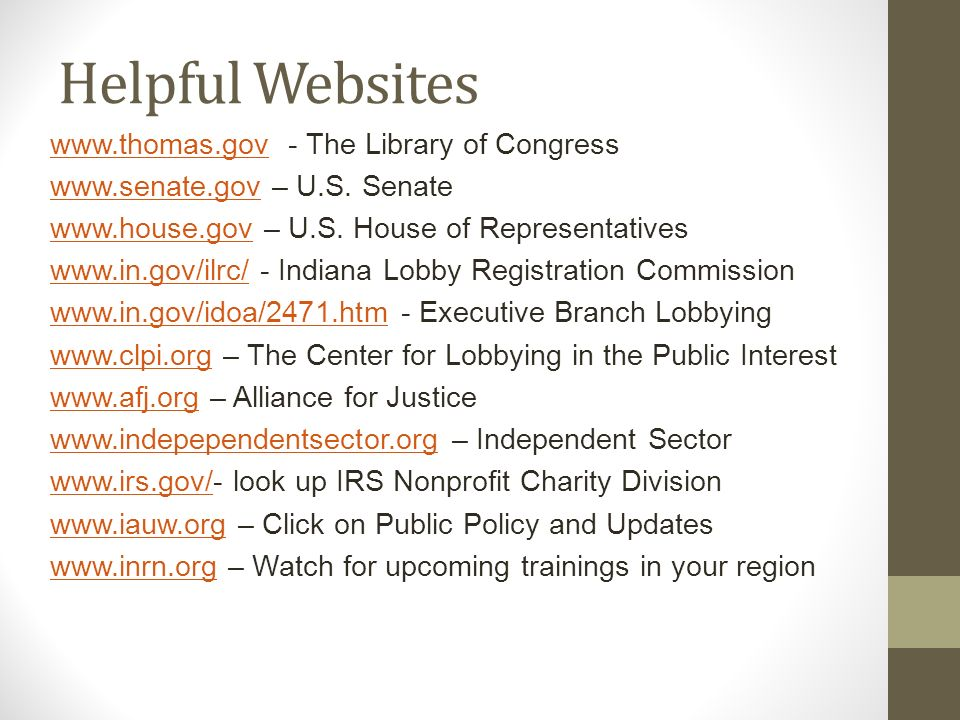 Helpful Websites   - The Library of Congress   – U.S.