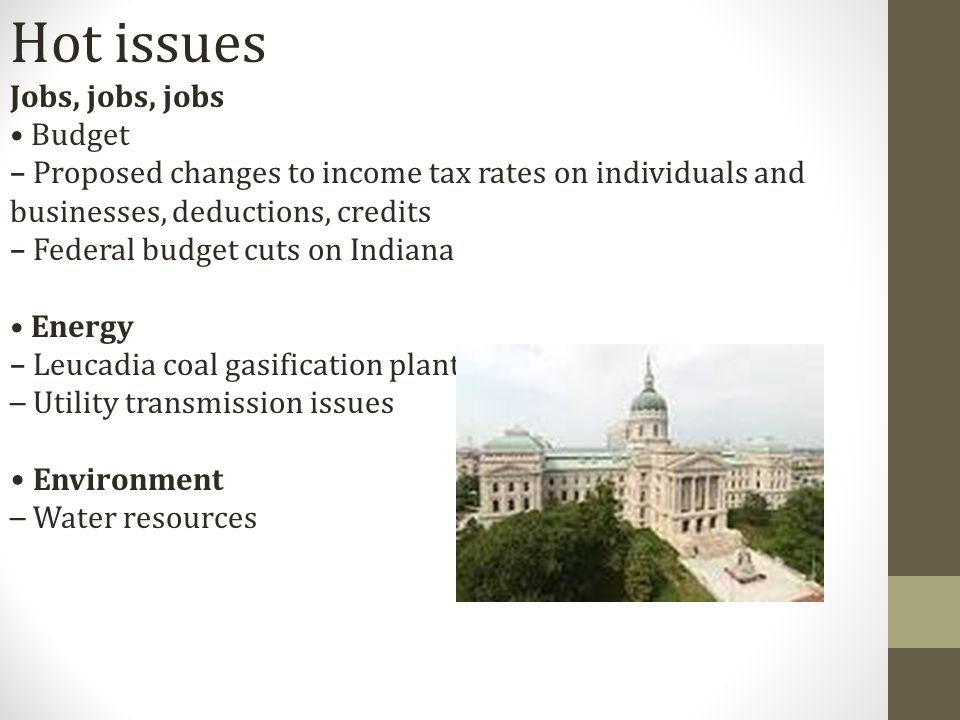 Hot issues Jobs, jobs, jobs Budget – Proposed changes to income tax rates on individuals and businesses, deductions, credits – Federal budget cuts on Indiana Energy – Leucadia coal gasification plant – Utility transmission issues Environment – Water resources