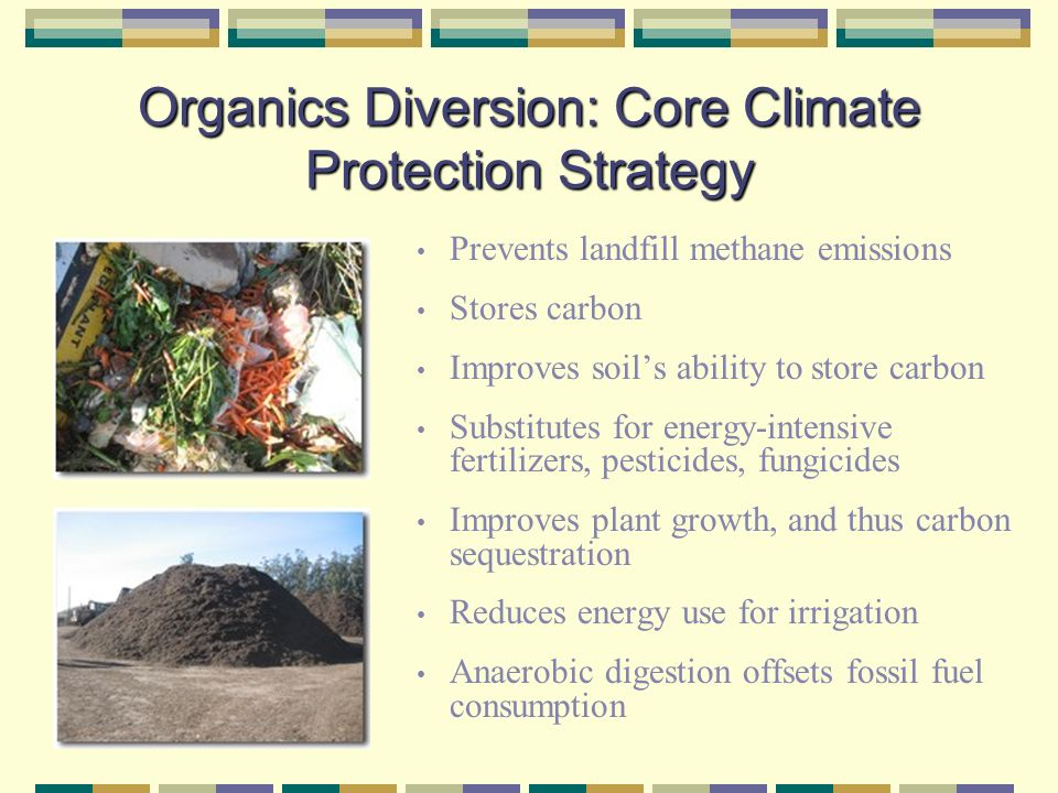 Organics Diversion: Core Climate Protection Strategy Prevents landfill methane emissions Stores carbon Improves soils ability to store carbon Substitutes for energy-intensive fertilizers, pesticides, fungicides Improves plant growth, and thus carbon sequestration Reduces energy use for irrigation Anaerobic digestion offsets fossil fuel consumption
