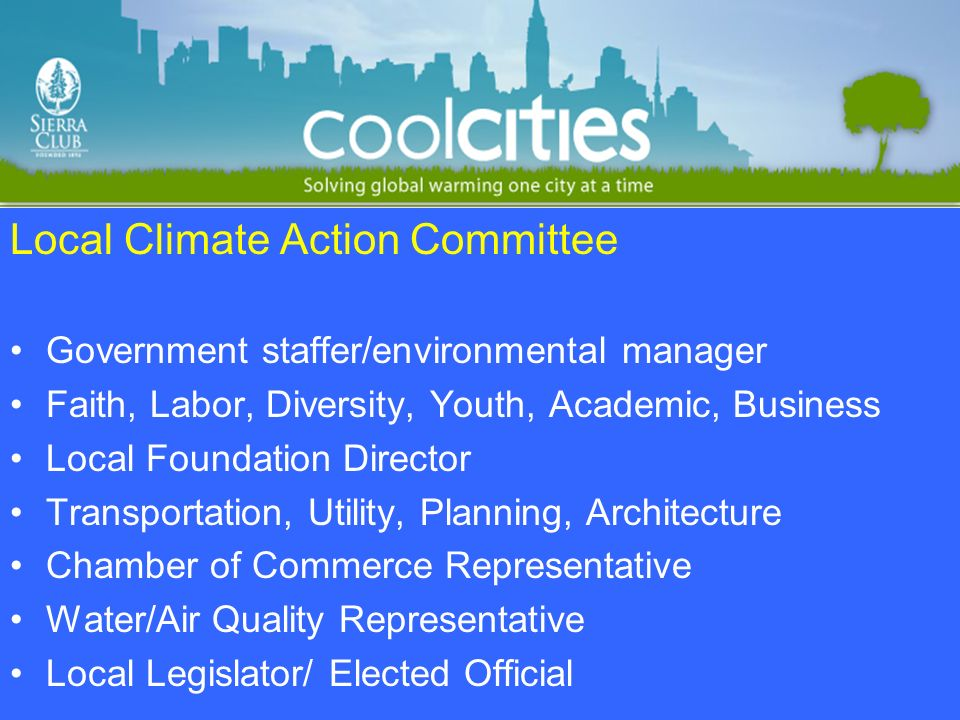 Local Climate Action Committee Government staffer/environmental manager Faith, Labor, Diversity, Youth, Academic, Business Local Foundation Director Transportation, Utility, Planning, Architecture Chamber of Commerce Representative Water/Air Quality Representative Local Legislator/ Elected Official