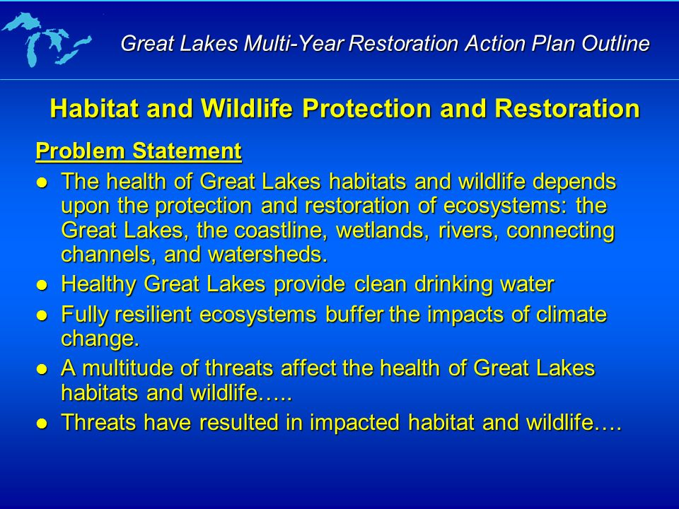 Problem Statement The health of Great Lakes habitats and wildlife depends upon the protection and restoration of ecosystems: the Great Lakes, the coastline, wetlands, rivers, connecting channels, and watersheds.