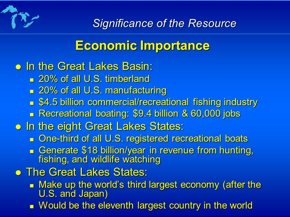Significance of the Resource In the Great Lakes Basin: In the Great Lakes Basin: 20% of all U.S.