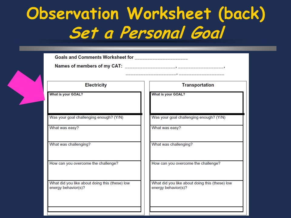 Observation Worksheet (back) Set a Personal Goal