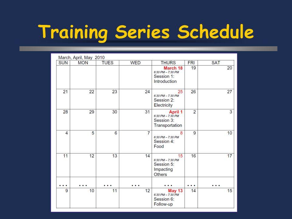 Training Series Schedule