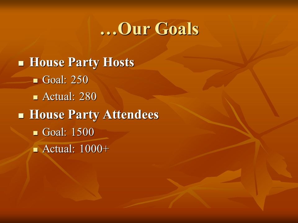 …Our Goals House Party Hosts House Party Hosts Goal: 250 Goal: 250 Actual: 280 Actual: 280 House Party Attendees House Party Attendees Goal: 1500 Goal: 1500 Actual: 1000+ Actual: 1000+
