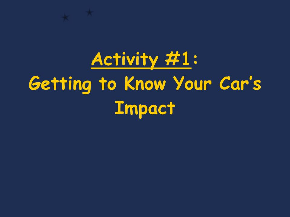 Activity #1: Getting to Know Your Cars Impact