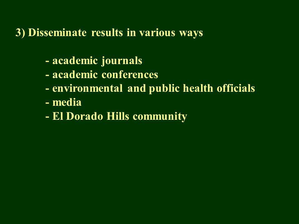 3) Disseminate results in various ways - academic journals - academic conferences - environmental and public health officials - media - El Dorado Hills community