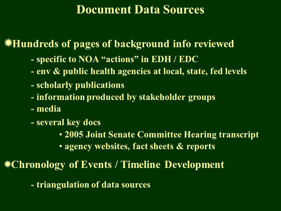 Document Data Sources Hundreds of pages of background info reviewed - specific to NOA actions in EDH / EDC - env & public health agencies at local, state, fed levels - scholarly publications - information produced by stakeholder groups - media - several key docs 2005 Joint Senate Committee Hearing transcript agency websites, fact sheets & reports Chronology of Events / Timeline Development - triangulation of data sources