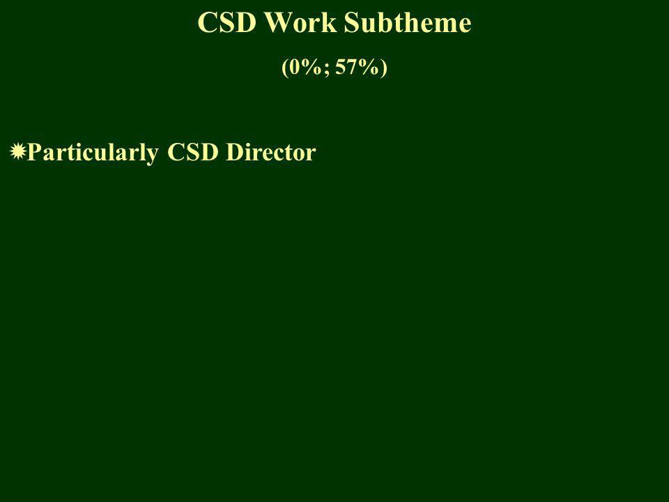 CSD Work Subtheme (0%; 57%) Particularly CSD Director