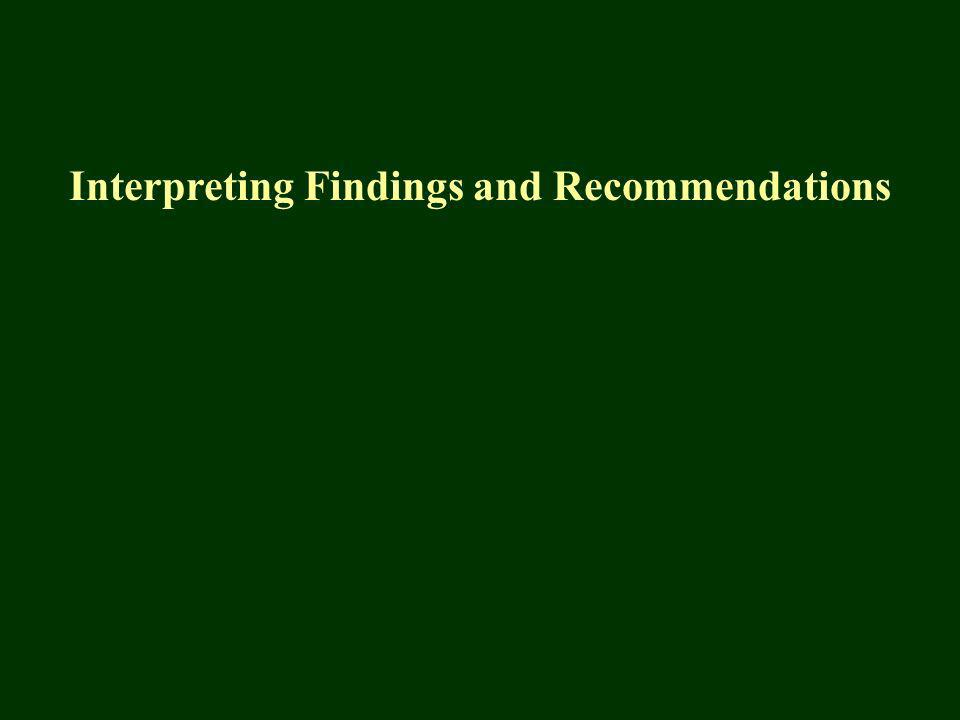 Interpreting Findings and Recommendations