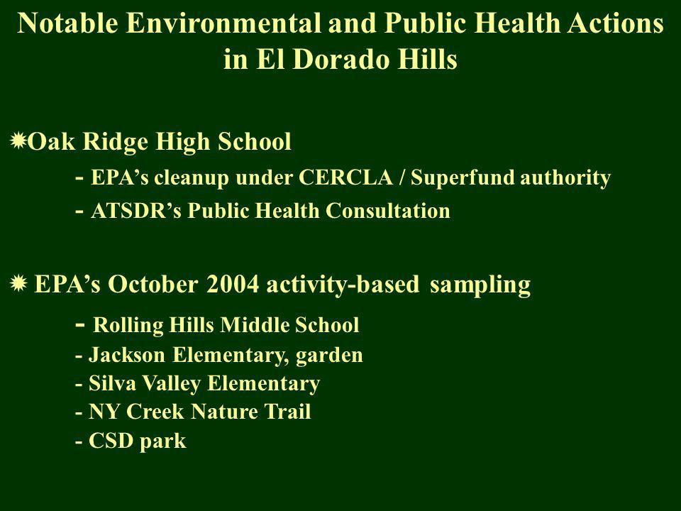 Notable Environmental and Public Health Actions in El Dorado Hills Oak Ridge High School - EPAs cleanup under CERCLA / Superfund authority - ATSDRs Public Health Consultation EPAs October 2004 activity-based sampling - Rolling Hills Middle School - Jackson Elementary, garden - Silva Valley Elementary - NY Creek Nature Trail - CSD park