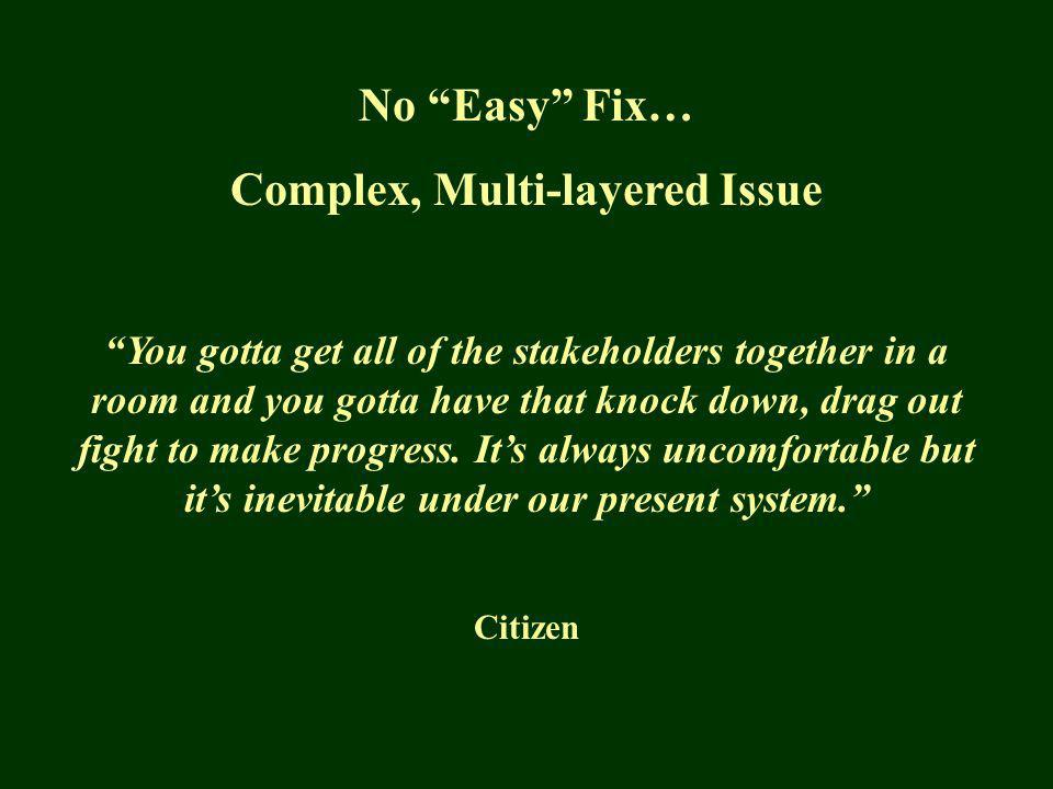 No Easy Fix… Complex, Multi-layered Issue You gotta get all of the stakeholders together in a room and you gotta have that knock down, drag out fight to make progress.