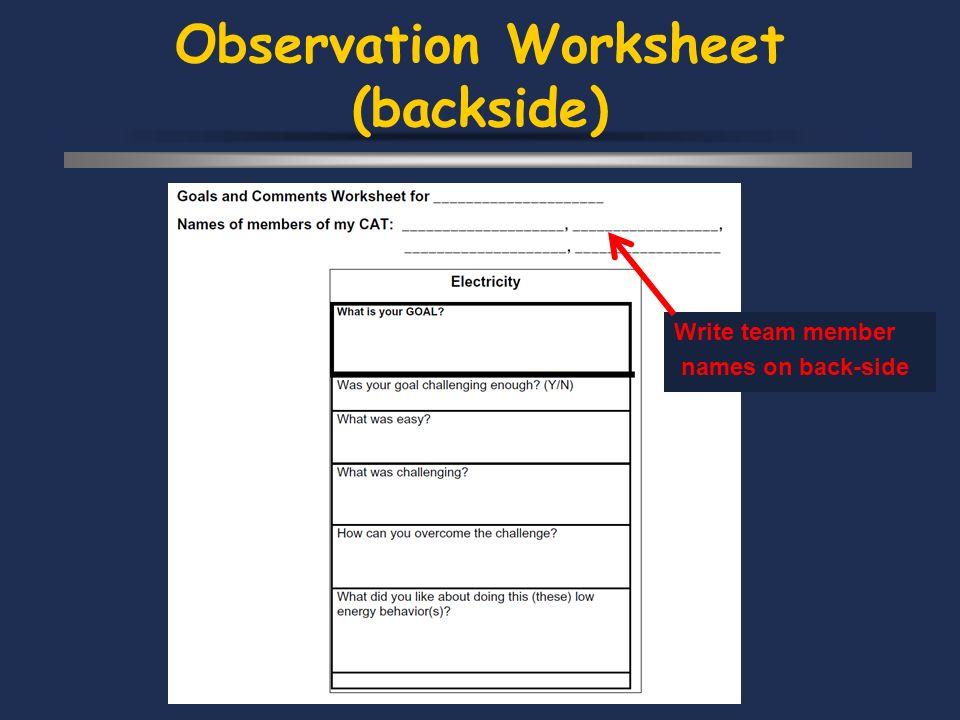 Observation Worksheet (backside) Write team member names on back-side