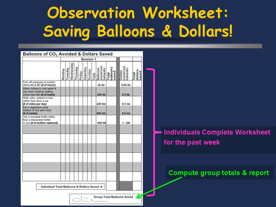 Observation Worksheet: Saving Balloons & Dollars.