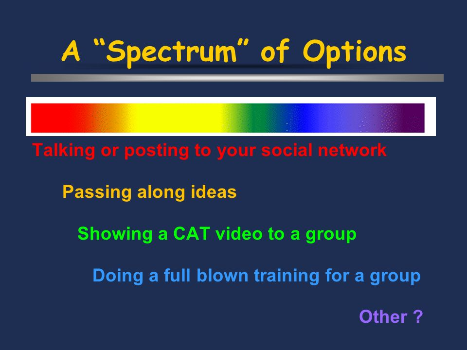 A Spectrum of Options Talking or posting to your social network Passing along ideas Showing a CAT video to a group Doing a full blown training for a g