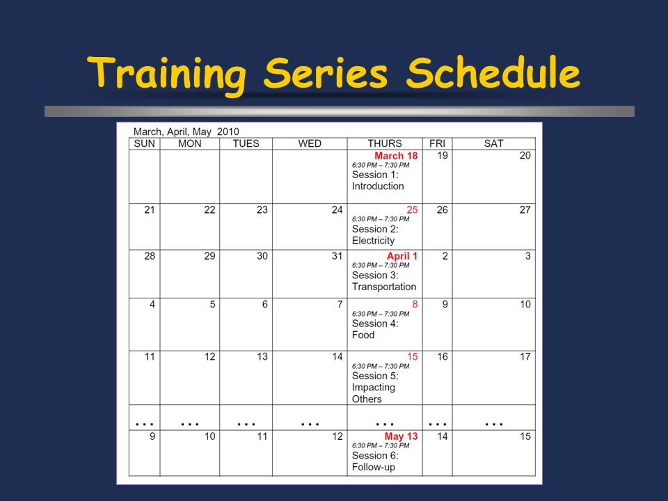 Training Series Schedule