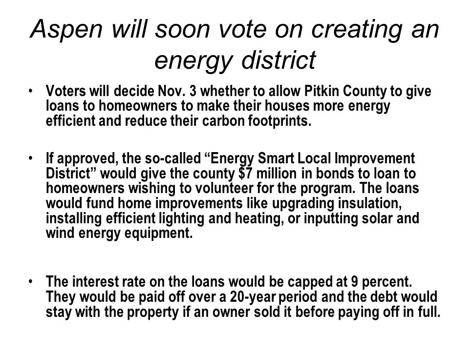 Aspen will soon vote on creating an energy district Voters will decide Nov.