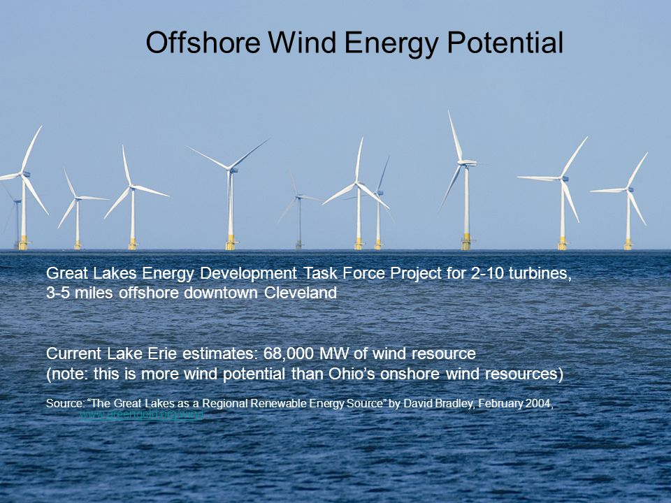 Offshore Wind Energy Potential Great Lakes Energy Development Task Force Project for 2-10 turbines, 3-5 miles offshore downtown Cleveland Current Lake Erie estimates: 68,000 MW of wind resource (note: this is more wind potential than Ohios onshore wind resources) Source: The Great Lakes as a Regional Renewable Energy Source by David Bradley, February 2004, www.greengold.org/wind www.greengold.org/wind