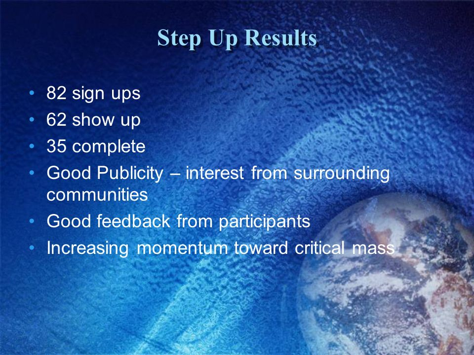 Step Up Results 82 sign ups 62 show up 35 complete Good Publicity – interest from surrounding communities Good feedback from participants Increasing momentum toward critical mass