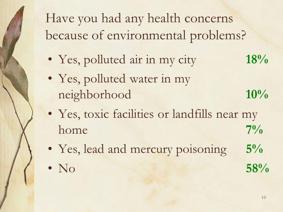 10 Have you had any health concerns because of environmental problems.