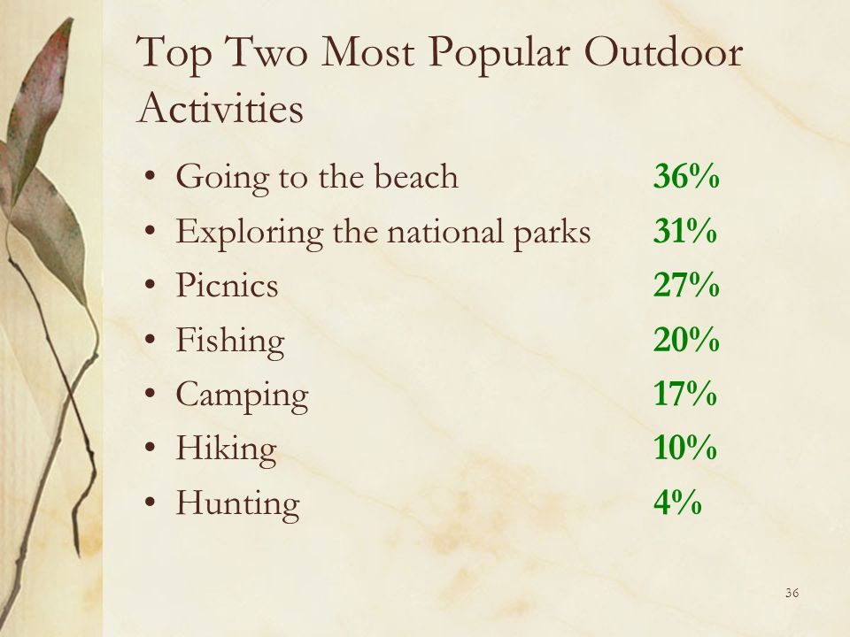 36 Top Two Most Popular Outdoor Activities Going to the beach36% Exploring the national parks31% Picnics27% Fishing20% Camping17% Hiking10% Hunting4%